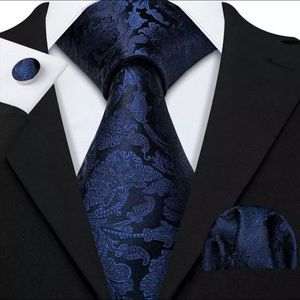 Other - EXTRA LONG Men's Silk Coordinated Tie Set, Blue